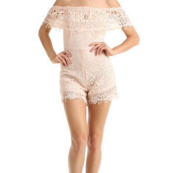 OFF THE SHOULDER CROCHET ROMPER - PEACH