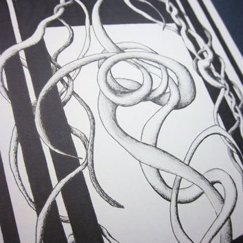 LOOPING MELANCHOLY: 8x10 original artwork, black and white abstract doodle art done in pen and ink fine art pen drawing
