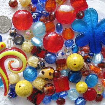 Sunset Mix Over 85 Pcs Assorted Beads Pendants Blue Red Orange Yellow for Jewelry Making Crafts Arts Lamp Work Lentil Square