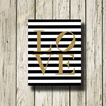 LOVE Gold Print Black and White Stripe Printable Instant Download Gold Black White Digital Art Print Wall Art Home Decor G114bws