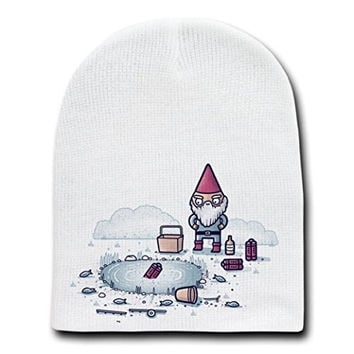 'I Hate Fishing' Gnome & Dynamite Humor - White Beanie Skull Cap Hat