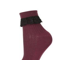 Lace Trim Ankle Socks - Burgandy