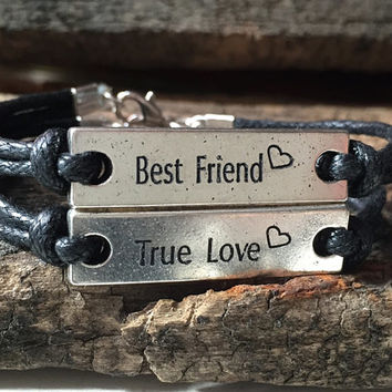 Best friend, True Love Bracelet, Silver engraved bracelet, custom engraved bracelet, personalized jewelry, couples bracelet, matching couple