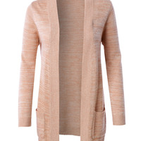 LE3NO Womens Open Front Knit Sweater Cardigan with Pockets