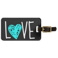 Aqua Heart LOVE on black, personalized luggage tag