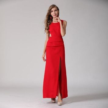 ONETOW red roosarosee   european women sleeveless Elegant backless placket o neck collar floor length maxi red dress