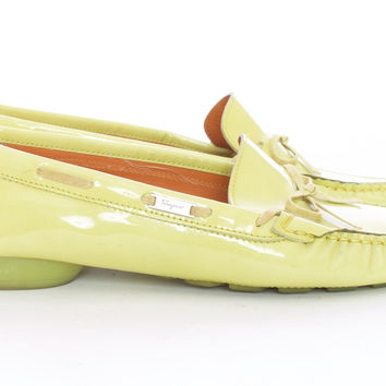 Salvatore Ferragamo Spring Green Patent Leather Driving Shoe Loafer Size 8.5