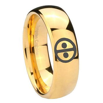 10mm Dead Pool Dome Gold Tungsten Carbide Mens Wedding Ring