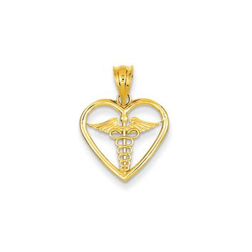 14k Yellow Gold Caduceus Heart Medical Pendant, 15mm