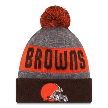 Men's Cleveland Browns New Era Heather Gray 2016 Sideline Official Sport Knit Hat