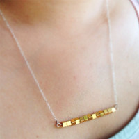 Dainty Gold Bar Necklace  Sterling Silver  by starrdvstcreations