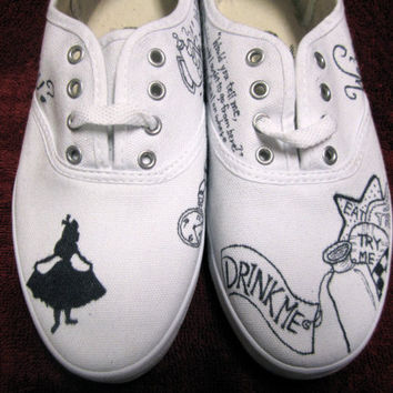 Custom Alice in Wonderland Canvas Sneakers by ShadedElephant