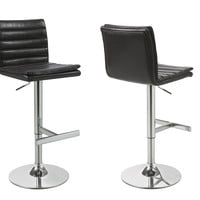 Dark Brown/Chrome Metal Hydraulic Lift Bar Stool (Set of 2)