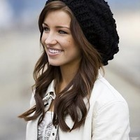 Oversized Crocheted Slouchy Hat / beanie  in Black - Women - Teen - fashion accessories