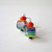Rainbow Earrings, Colorful Earrings, Cube Earrings, Lampwork Glass Earrings, Striped Earrings