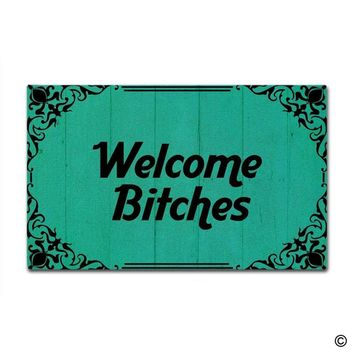 Autumn Fall welcome door mat doormat  Entrance Floor Mat - Funny  Welcome Bitches Designed Indoor Outdoor  AT_76_7
