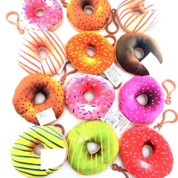 "Cute Sweet Mini Donuts Soft 3"" Plush Keychain Cartoon Party Favors- 1 Dz"