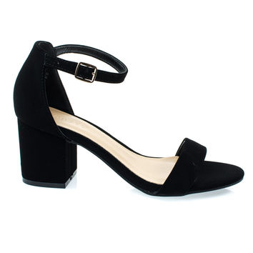 Highlight06S Black By Bamboo, 70s Low Chunky Block Heel Sandal w Ankle Strap. Women's