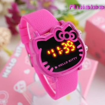 Top Quality 4 Colors Cute Hello Kitty Watch For Kids Women Fashion Casual Led Wristwatch Children Students Watch Clock Relogio