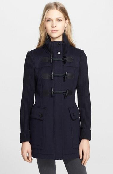 25e4abeb19d1 Women s Burberry Brit  Westfield  Wool Toggle Coat with Knit Sleeves