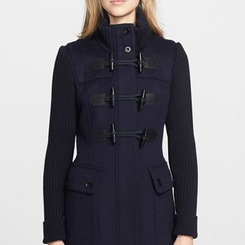 Women's Burberry Brit 'Westfield' Wool Toggle Coat with Knit Sleeves,