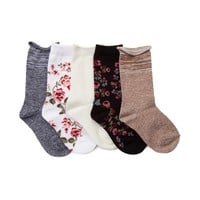 Girls Toddler Floral Crew Socks 5 Pack