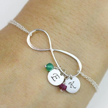 initial infinity Bracelet . two initials, two Birthstone Bracelet .Sterling Silver Infinity Bracelet. love,Mom,Sister,Wife,Bridesmaid Gift