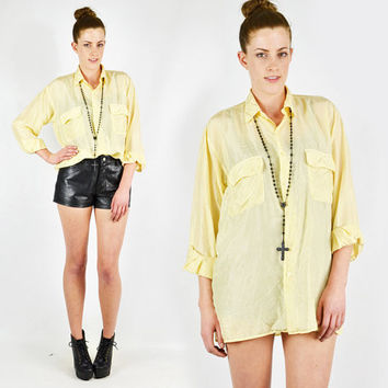 vtg 80s 90s classic preppy yellow 100% SILK DRAPED slouchy OVERSIZED button up shirt blouse top S M
