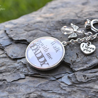 Bridal Bouquet Charm - Bouquet Charm - Walk With Me Dad Wedding Bouquet Charm - Double Sided Bouquet Charm - Bridal Gift  - Bridal Keepsake