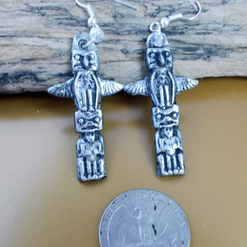 Ancient Earrings, tin, castings, Native American totem pole. Native Indian Art.