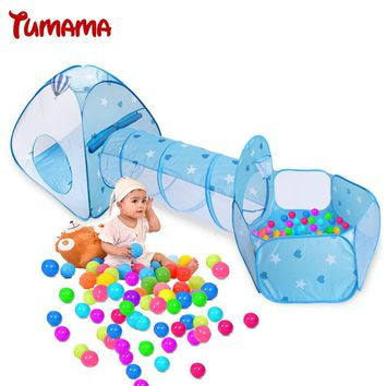 Tumama Foldable Children Play House Toy Outdoor Tunnel Pool-Tube-Teepee 3pc Baby Adventure Play House Tents For Kids