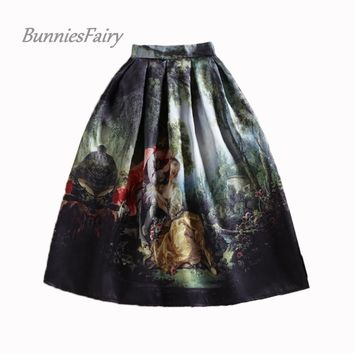 BunniesFairy 50s Princess Royal Vintage Retro Fantasy Oil Painting Floral Print High Waist Midi Skirt Full Circle Saia Femininas