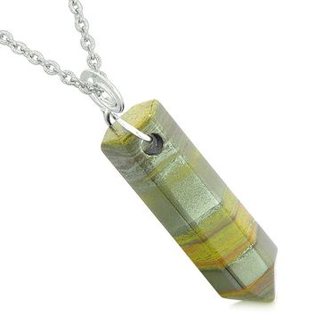 Amulet Lucky Crystal Point Spiritual Protection Powers Wand Charm Tiger Iron Pendant 18 inch Necklace