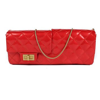 Chanel Red Patent Leather Double Flap East West Reissue Shoulder Bag