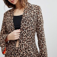 Unique 21 Boyfriend Fit Blazer In Leopard Print Two-Piece at asos.com