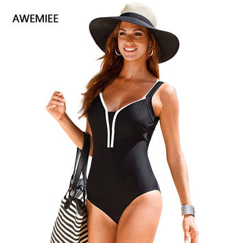 Swimming One-Piece Suits Women's Swimsuits Swimwear Female Retro Plus Size 2017 Vintage Large Size Bathing Suit Swim Solid