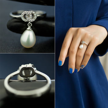 New Arrival Jewelry Gift Shiny Pearls 925 Silver Stylish Accessory Ring [4989658372]