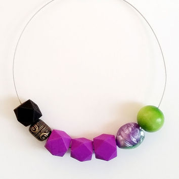 Lavender (Purple, Brown & Black, Lime Green) Wooden and Chunky Beaded Choker-Wire Necklace