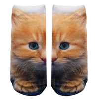 Yellow Kitty Knit Ankle Socks