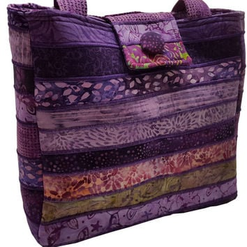 Large Batik Purse in Purple Fabrics