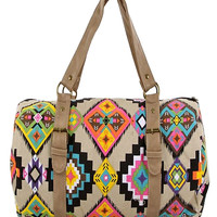 Aztek Print Mini Duffle Bag