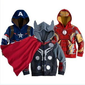 2016 New Baby Kids Jackets Captain America Iron Man Same Style Kids Clothes Hulk Heros Hooded Spring Autumn Chaquetas CE150