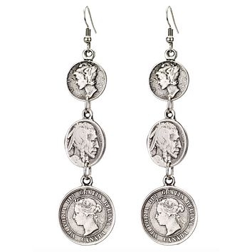 Antique Coin Drop Earrings