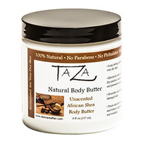 Premium Taza Natural Unscented African Shea Body Butter, 8 fl oz (237 ml) ♦ Gives You Intense Moisture For Very Dry Skin ♦ Enriched With: Shea Butter, Coconut Oil, Pumpkin Butter, Cocoa Butter