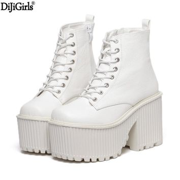 Womens Boots Winter Fashion Platform High Heel Boots Ladies Ankle Boots Punk Rock Motorcycle Boots Black Platform Shoes