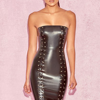 Clothing : Bodycon Dresses : 'Kaia' Black Latex Strapless Dress