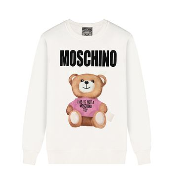 Moschino Autumn And Winter New Fashion Letter Bear Print Women Men Leisure Long Sleeve Top Sweater White