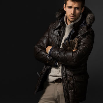 SHORT QUILTED DOWN COAT LIMITED EDITION - NYC Limited Edition - Leather jackets - MEN - United States of America / Estados Unidos de América