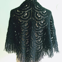 Black Lace Crochet Shawl, Vintage 80s Fringe Shawl, Wool Knit Shawl, Womens Tassel Shawl, Black Wrap Shawl, Mom Gift Winter Shawl