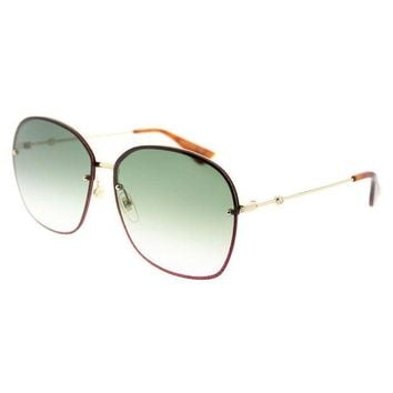 ONETOW Gucci GG 0228S 001 Gold Metal Oval Sunglasses Green Gradient Lens